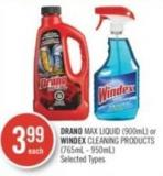 Drano Max Liquid (900ml) or Windex Cleaning Products (765ml - 950ml)
