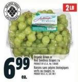 Organic Green Or Red Seedless Grapes 2 Lb