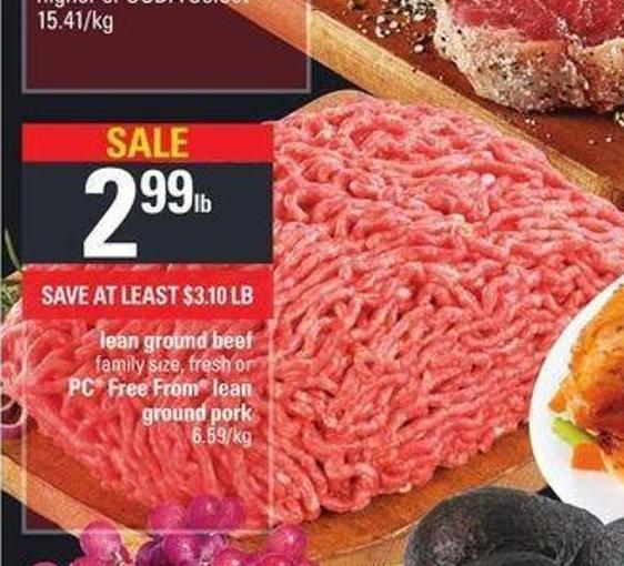 Lean Ground Beef Or PC Free From Lean Ground Pork