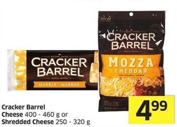 Cracker Barrel Cheese 400 - 460 g or Shredded Cheese 250 - 320 g