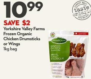 Yorkshire Valley Farms Frozen Organic Chicken Drumsticks or Wings 1kg Bag
