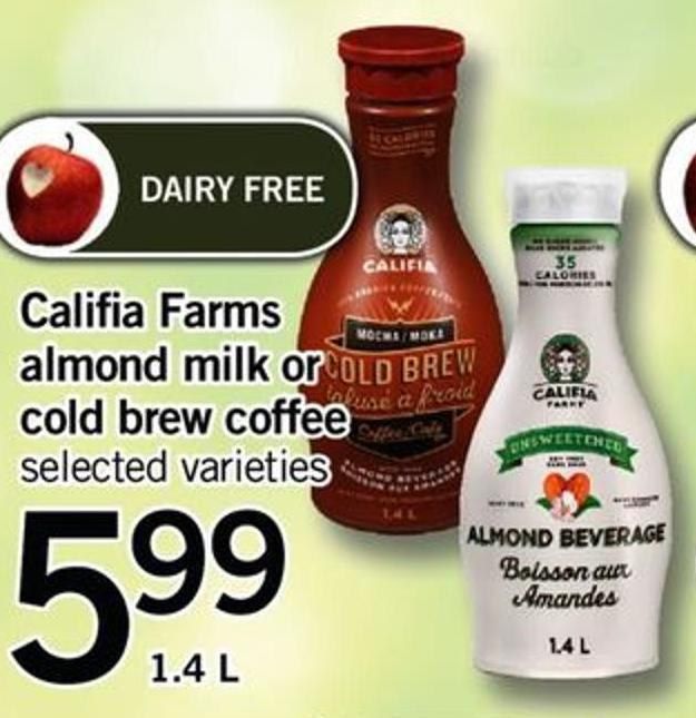 Califia Farms Almond Milk Or Cold Brew Coffee - 1.4 L