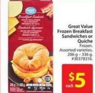 Great Value Frozen Breakfast Sandwiches or Quiche