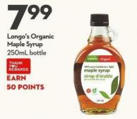 Longo's Organic  Maple Syrup 250ml Bottle