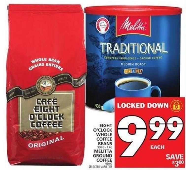 Eight O'clock Whole Coffee Beans Or Melitta Ground Coffee