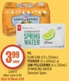 PC Slim Can (10 X 250ml) - Perrier (6 X 500ml) or San Pellegrino (6 X 330ml) Sparkling Water