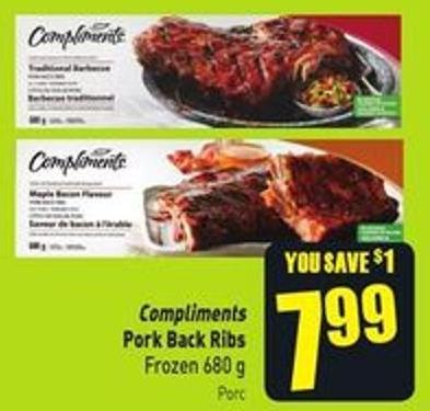 Compliments Pork Back Ribs Frozen 680 g