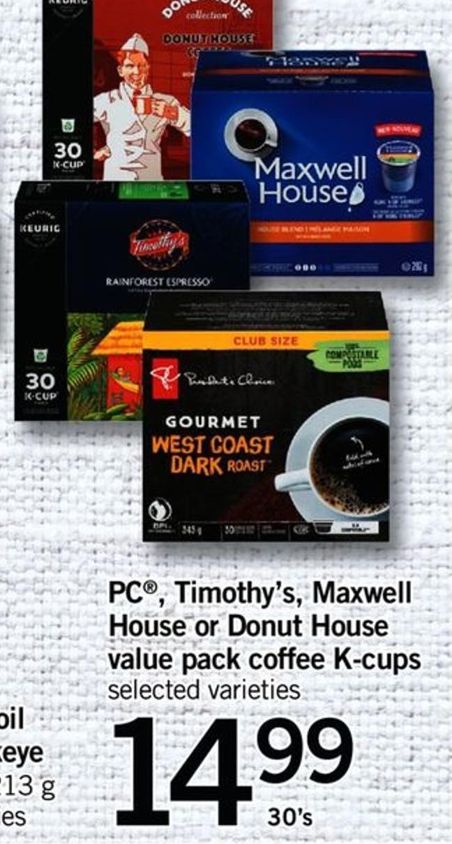 PC Timothy's - Maxwell House - Or Donut House Value Pack Coffee K-cups - 30's