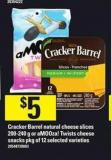 Cracker Barrel Natural Cheese Slices - 200-240 g or Amooza! Twists Cheese Snacks - Pkg of 12