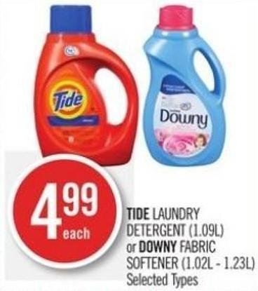 Tide Laundry Detergent (1.09l) or Downy Fabric Softener (1.02l - 1.23l)