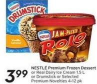 Nestl' Premium Frozen Dessert or Reai Dairy Ice Cream 1.5 L or Drumstick or Selected Premium Novelties 4-12 Pk