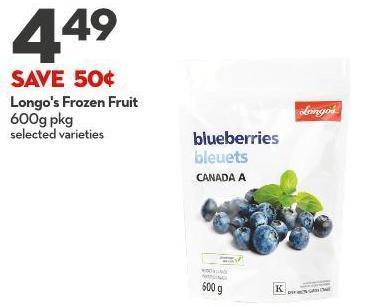 Longo's Frozen Fruit 600g Pkg
