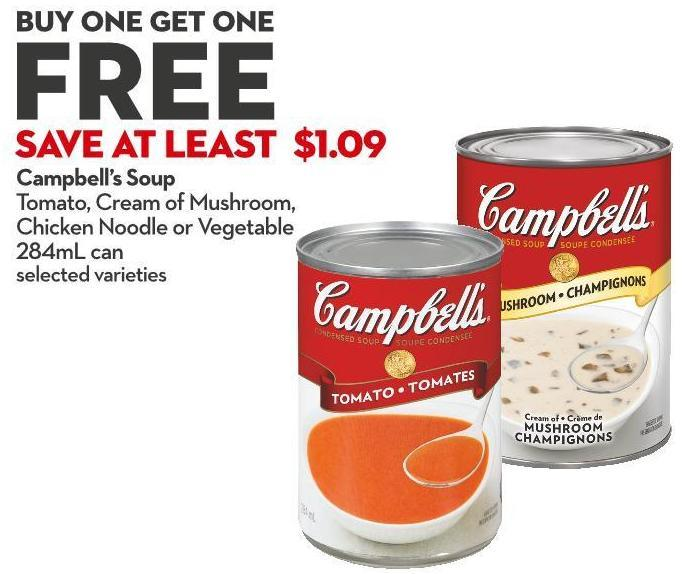 Campbell's Soup Tomato - Cream of Mushroom - Chicken Noodle or Vegetable 284ml Can
