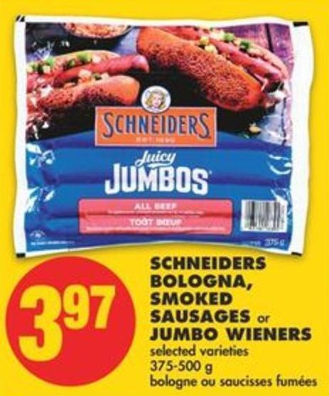 Schneiders Bologna - Smoked Sausages or Jumbo Wieners - 375-500 g