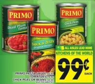 Primo Pasta Sauce Or Tomatoes Or Chick Peas Or Beans