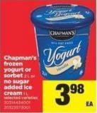 Chapman's Frozen Yogurt Or Sorbet 2 L Or No Sugar Added Ice Cream 1 L