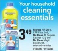 Febreze Air - 250 g - Car Clips - 2 mL - Mr. Clean All Purpose Cleaner - 1.3 L and Mr. Clean Magic Eraser - 2 Ct