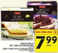 Irresistibles Key Lime Or Cream Pies Or New York Style Cheesecakes