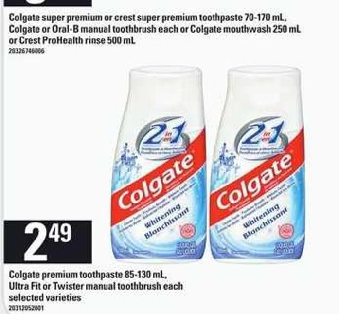 Colgate Premium Toothpaste - 85-130 Ml - Ultra Fit Or Twister Manual Toothbrush