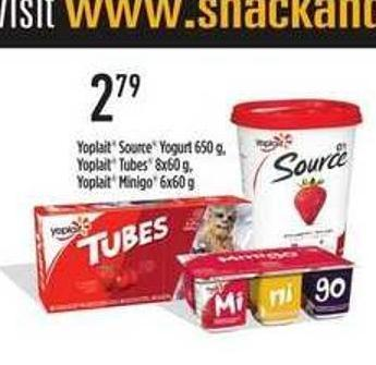 Yoplait Source Yogurt - 650 G - Yoplait Tubes - 8x60 G - Yoplait Minigo - 6x60 G