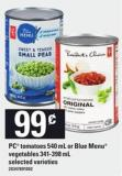 PC Tomatoes - 540 Ml Or Blue Menu Vegetables - 341-398 Ml