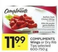 Compliments Wings or Dry Rib Tips Selected 600-750 g