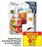 Glade Plugins Scented Oil Warmer or 2-pack Refills