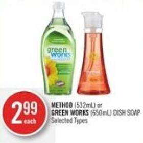 Method (532ml) or Green Works (650ml) Dish Soap