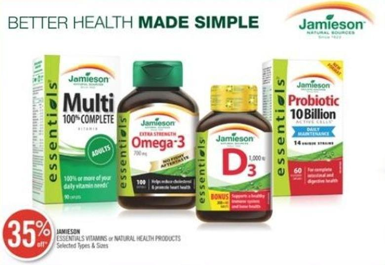 Jamieson Essentials Vitamins or Natural Health Products