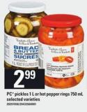 PC Pickles 1 L Or Hot Pepper Rings 750 Ml