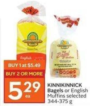 Kinnikinnick Bagels or English Muffins Selected 344-375 g