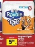 Royale Tiger Towel - 6 Rolls