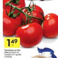 Tomatoes On The Vine Product of Canada No 1 Grade 3.29/kg