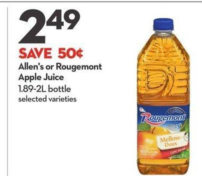 Allen's or Rougemont Apple Juice