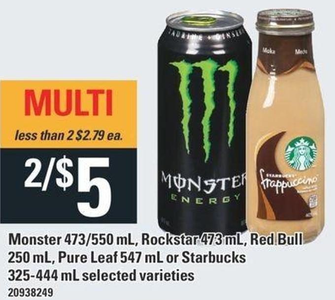 Monster 473/550 Ml - Rockstar 473 Ml - Red Bull 250 Ml - Pure Leaf 547 Ml Or Starbucks 325-444 Ml