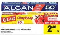 Glad Plastic Cling - 60 M Or Alcan - 50' Foil
