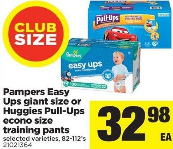 Pampers Easy Ups Giant Size Or Huggies Pull-ups Econo Size Training Pants - 82-112's