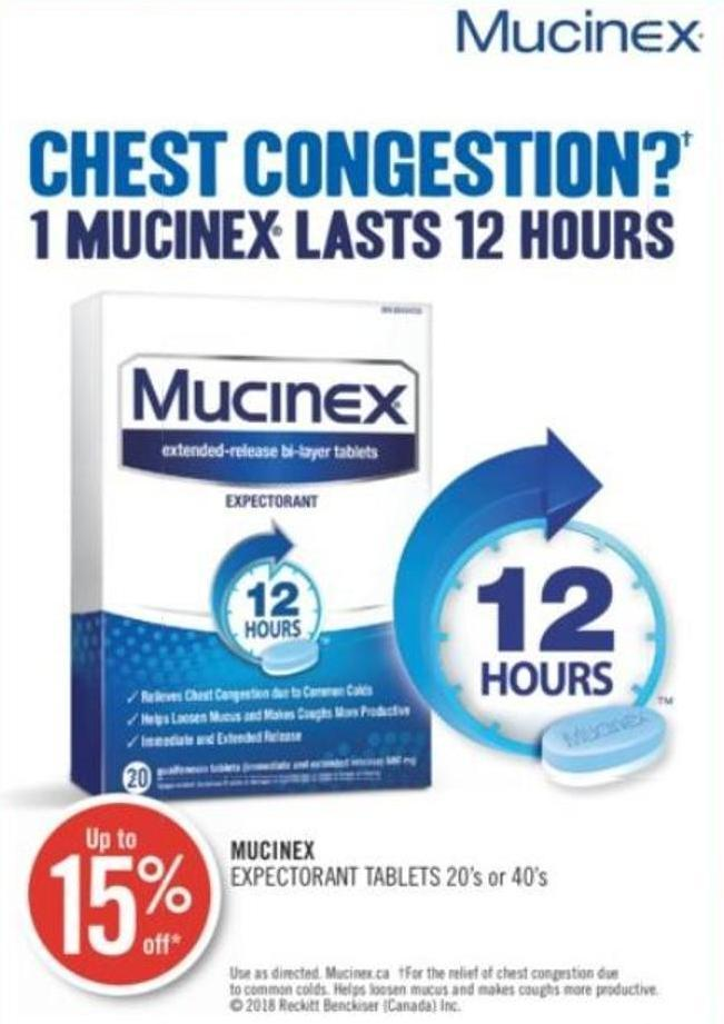 Mucinex Expectorant Tablets 20's or 40's