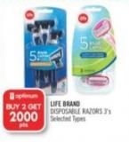Life Brand Disposable Razors 3's