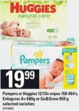 Pampers Or Huggies - 12/13x Wipes - 768-864's - Enfagrow A+ 680g Or Go&grow - 850 G