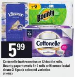 Cottonelle Bathroom Tissue 12 Double Rolls - Bounty Paper Towels 4=6 Rolls Or Kleenex Facial Tissue 3-6 Pack