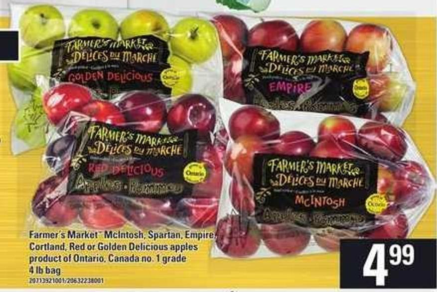 Farmer's Market Mcintosh - Spartan - Empire - Cortland - Red Or Golden Delicious Apples - 4 Lb Bag