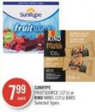 Sunrype Fruitsource (12's) or Kind Minis (10's) Bars