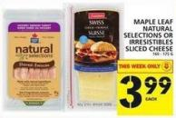 Maple Leaf Natural Selections Or Irresistibles Sliced Cheese