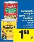 Campbell's Ready To Serve 540 Ml Or Habitant 796 Ml Soup
