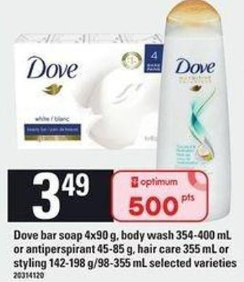 Dove Bar Soap - 4x90 G - Body Wash - 354-400 Ml Or Antiperspirant - 45-85 G Hair Care 355 Ml Or Styling - 142-198 G/98-355 Ml