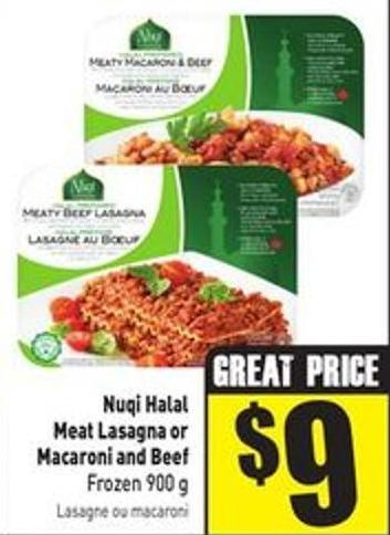 Nuqi Halal Meat Lasagna or Macaroni and Beef Frozen 900 g