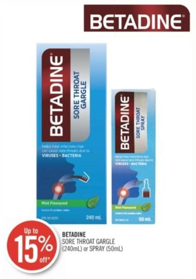 Betadine Sore Throat Gargle (240ml) or Spray (50ml)