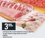 Pork Back Ribs Or Pork Tenderloin Cryovac Pkg Of 2 Or Split Chicken Wings Family Size Fresh