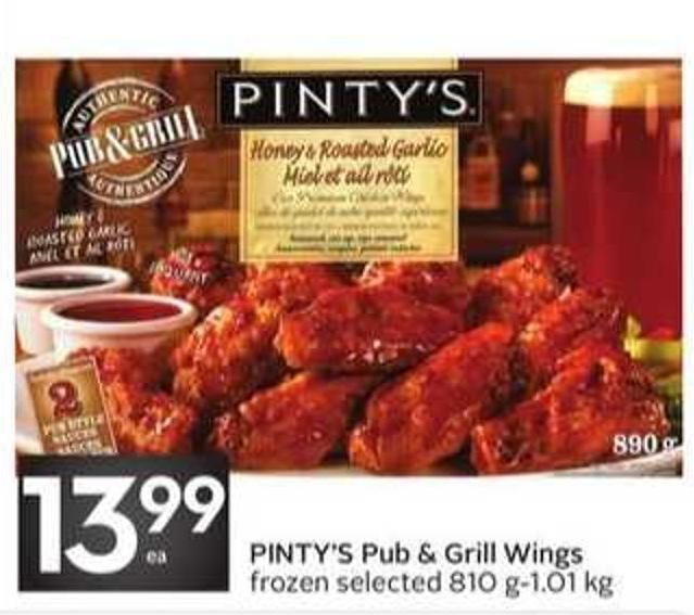 Pinty's Pub & Grill Wings Frozen Selected 810 G-1.01 Kg